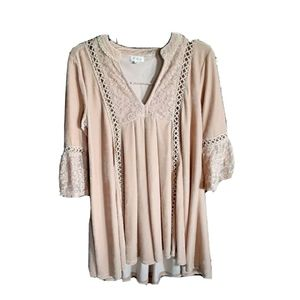 Anthropology POL V Neck Lace Velvet Tunic Boho Sm